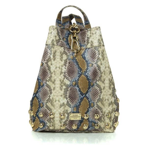 Elena Athanasiou Bags Backpack Snake Pattern Dark Yellow