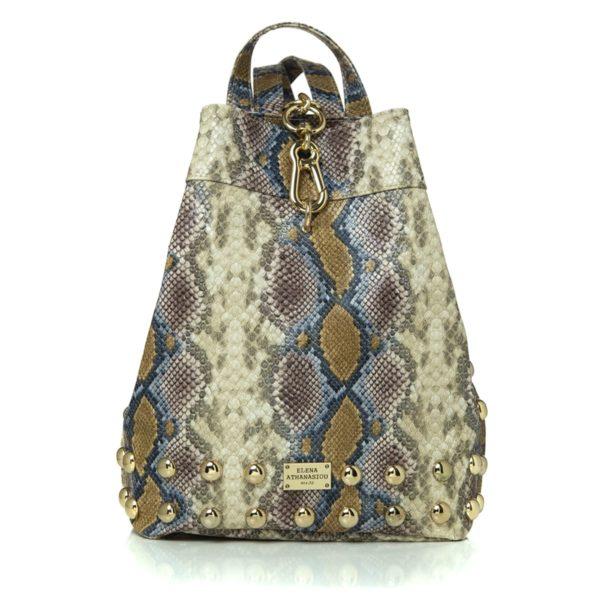 Elena Athanasiou Bags Backpack Snake Pattern Dark Yellow