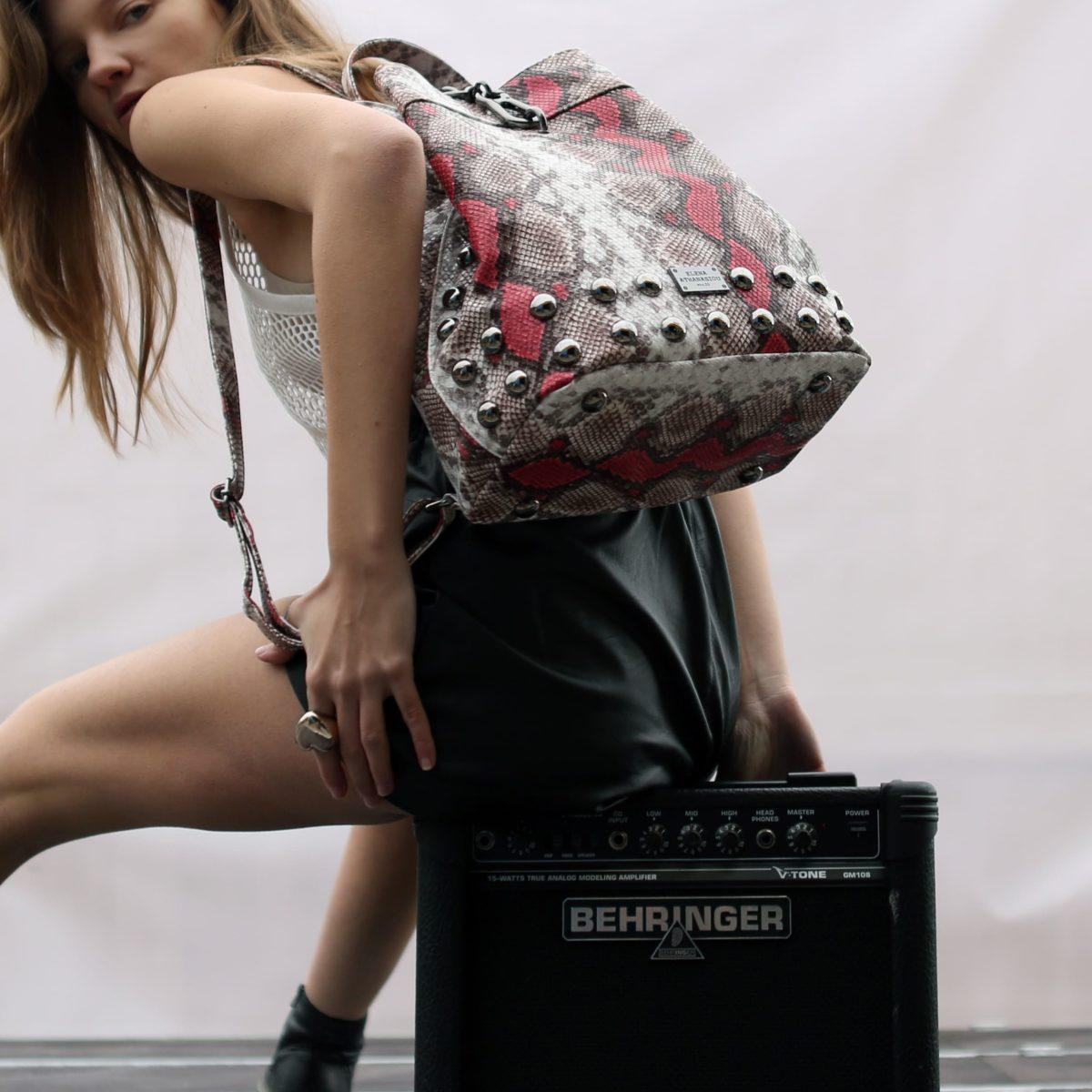 Backpack Snake Pattern Coral | Elena Athanasiou Bags