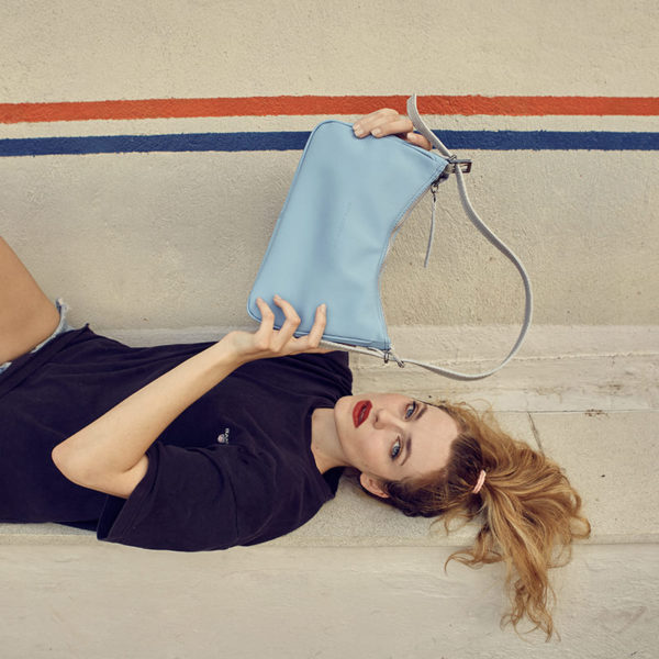 elena athanasiou bags ss20 into the grove leather bags vintage baguette periwinkle blue