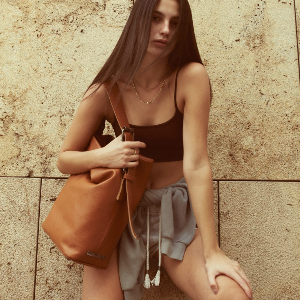 Day to Evening Pouch Bag L Cognac | Elena Athanasiou Bags | Not The Ordinary FW21 Collection