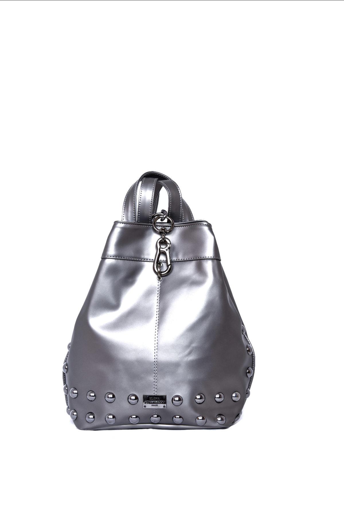elena athanasiou bags backpack metallic grey