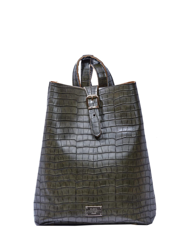 elena athanasiou backpack croco pattern khaki
